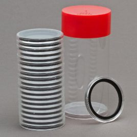 1 Airtite Coin Holder Storage Container & 20 Black Ring 33mm Air-Tite Coin Holder Capsules for 1oz Platinum Platypus