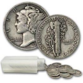 .00 (50ct) Roll 90% Silver Coin – (Mercury Dimes)