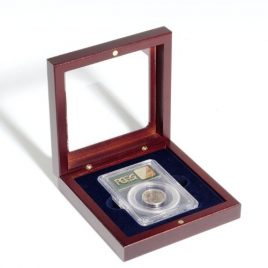 (1) Lighthouse Mahogany Finish Slab Storage Box Certified Graded Coin W/ Glass Lid