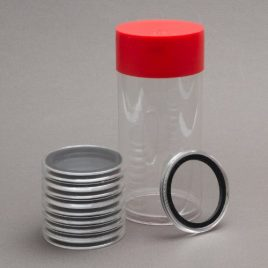 1 Airtite Coin Holder Storage Container & 10 Black Ring 39mm Air-Tite Coin Holder Capsules for Standard Size Casino Chips