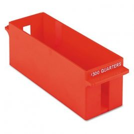 Large Capacity Plastic Interlocking Coin Tray, Holds $300 in Quarters, Orange (PMF05036)