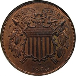 1864 P 2-Cent Pieces Small Motto Two-Cent MS64 NGCCAC RB