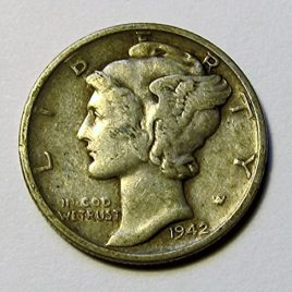 1916 – 1945 90% Silver Mercury Dimes Circulated (Mixed Dates and Mint Marks) .10c Dime Circulated